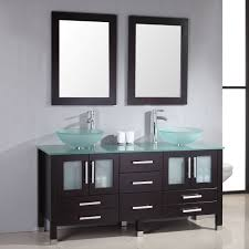 Black Bathroom Vanity With White Marble Top by White Wall Mounted Square Mirror Over White Round Undermount