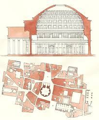 section and plan of pantheon in rome italy stuff i do for fun