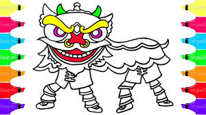 how to draw lion dance coloring pages for kids learn colors
