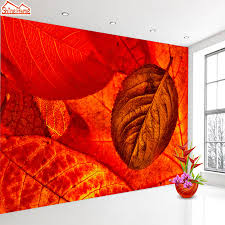 online get cheap 3d autumn leaves wall mural aliexpress com shinehome red leaf autumn view natrual non woven 3d wallpaper wallpapers walls murals for 3