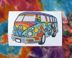volkswagen bus art vw hippie bus sticker chico art