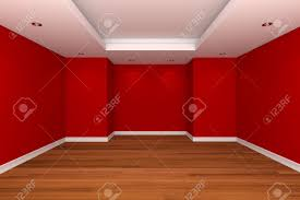 home interior rendering with empty room decorate red color wall
