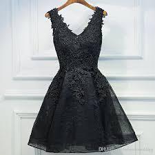 little black a line short homecoming dresses 2017 v neck cocktail