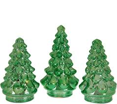 set of 3 illuminated mercury glass graduated christmas trees
