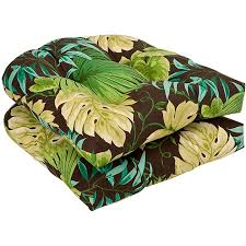pillow perfect outdoor brown green tropical seat cushions set of