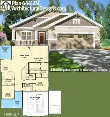 plan 64412sc 2 bed bungalow with exterior options bungalow