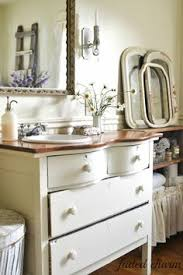 neutral shabby chic bathroom with chest of drawers chic