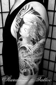 black n white geisha design on half sleeve tattoos book
