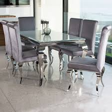 silverado chrome 47 round dining table remarkable louis contemporary black or white glass chrome 2m 7 piece