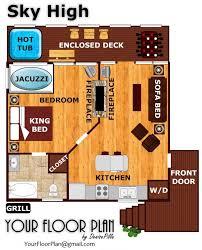 Wilderness Lodge Floor Plan Sky High A Pigeon Forge Cabin Rental