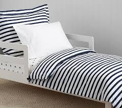 Toddler Bed Down Comforter Organic Breton Stripe Toddler Duvet Cover Pottery Barn Kids