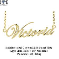Custom Made Name Necklace New Custom Made Gold Plated Stainless Steel Victoria Nameplate