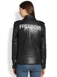 leather motorcycle jacket blk dnm freedom printedback leather motorcycle jacket in black lyst