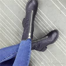 womens boots zip up back autumn winter front back zipper boots martin retro genuine