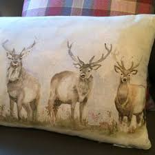 Stag Cushions Moorland Stag Linen Cushion Voyage 130073