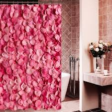 Petal Pink Curtains Warmth Pink Petal Polyester Shower Curtain Waterproof