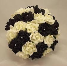 Silk Bridal Bouquet Bridal Bouquets Black U0026 White Rose Diamante Bridal Bouquet