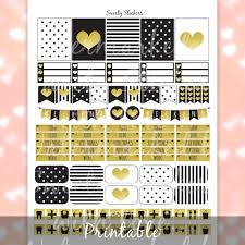 black and gold planner stickers printable printable planner zoom