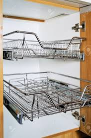 Cabinet Door Drying Rack Open Kitchen Cabinet With Two Layers Of Stainless Dish Rack Stock