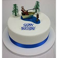 fisherman cake topper fisherman ornament ribbon happy birthday motto cake topper set
