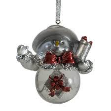 2014 mikasa snowman with gift snowglobe christmas ornament