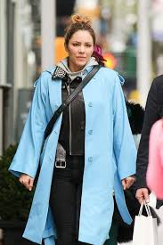 light blue trench coat mcphee in light blue trench coat out in new york