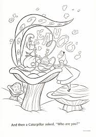 alice in wonderland color pages alice in wonderland caterpillar free coloring pages on art