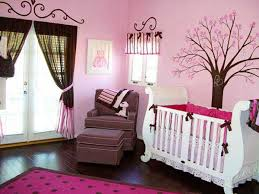 Beige And Pink Curtains Decorating Baby Bedroom Craft Ideas Brown Rounf Fur Rug Beside Beige Striped