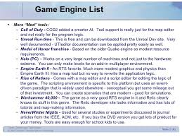 list of engines design 1 intro and engines
