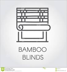 window bamboo blinds icon in line style contour logo for