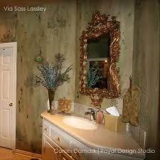 Stencils For Home Decor Damask Wall Stencil Pattern To Repeat Allover Or As A Wall Motif