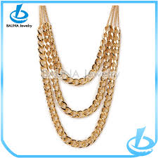 chain necklace cheap images Three layers plain gold chain jewelry imitation jewelry cheap jpg