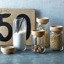 glass canisters for kitchen wood glass storage jars elm