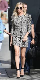 charlize theron stuns arriving at jimmy kimmel live daily mail