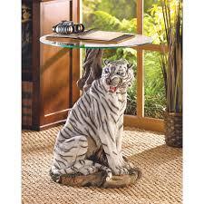 amazon com white tiger sculptural base home accent glass top