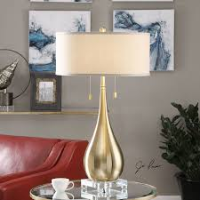 Uttermost Table Lamps Lagrima Brushed Brass Two Light Table Lamp Uttermost Accent Lamp