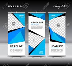 Stand Up Flag Banners Blue Roll Up Banner Template Vector Illustration Polygon