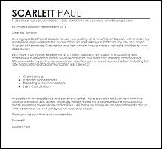 assistant cover letter project assistant cover letter sle livecareer