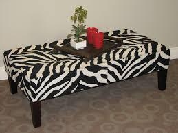Zebra Side Table Coffee Table Black Leather Ottoman Coffee Table Dark Walnut Side