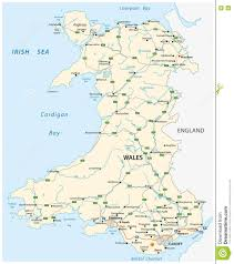 Map Of Wales Road Map Of The British Territory Of Wales Stock Illustration