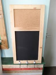 pinboard blackboard fitted with 3 hooks made from a reclaimed