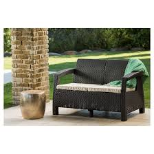 Resin Patio Table And Chairs Corfu Resin Patio Love Seat With Cushions Brown Keter Target