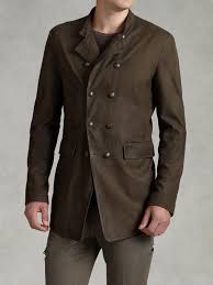 john varvatos double breasted goat suede coat in brown for men lyst