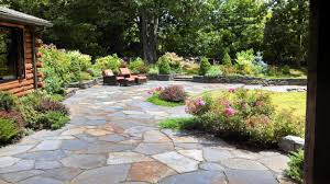 round patio stone garden ideas garden design patio with wooden pattern fence and