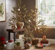 lit potted pine trees pottery barn