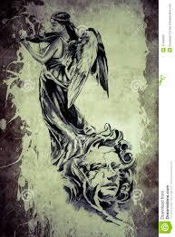 violin tattoo designs tattoo angel playing the violin stock photos image 37468363