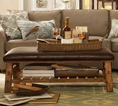 trendy leather rectangular ottoman editeestrela design