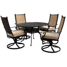 48 Inch Round Table by Bocage 5 Piece Cast Aluminum Sling Patio Dining Set W 48 Inch