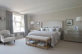 Houzz Master Bedrooms by Spacious Bedroom With Wide Nightstands And Grey Bed Near Tufted