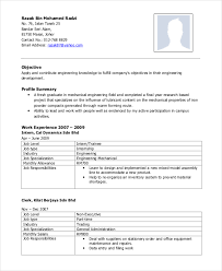 Resume Work Experience Examples For Students by Mechanical Engineering Resume Template 5 Free Word Pdf